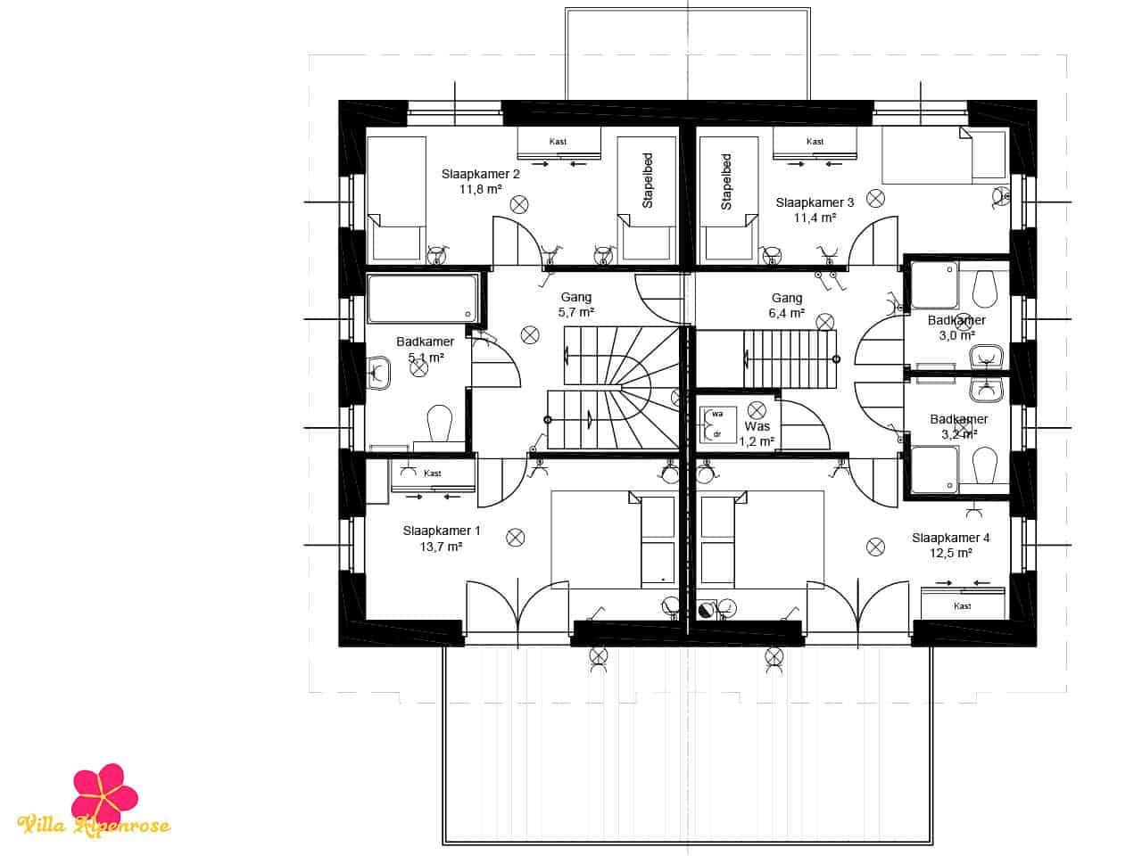 villa-alpenrose-plattegrond-eerste-verdieping
